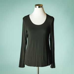 Eileen Fisher MP Black Crew Neck Knit Top